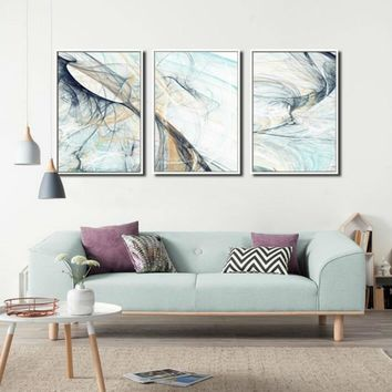 SURE LIFE 3 Pieces Modern Abstract Line Psychedelic Canvas Paintings Wall Art Pictures Posters Prints Living Room Home Decor