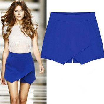 Cross Over High Waist Pure Color Shorts