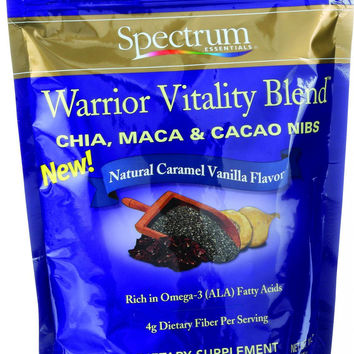 Spectrum Essentials Chia Maca And Cacao Nibs - Warrior Vitality Blend - Natural Caramel Vanilla Flavor - 10 Oz