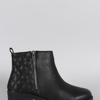 Zipper Trim Quilted Round Toe Ankle Boots