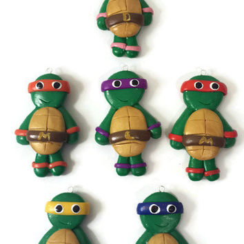 Teenage Mutant Ninja Turtle Pendant, Polymer clay Turtle , Ninja Turtle Accessories, Polymer clay Premo Pendant, Girl Ninja Turtle Bow