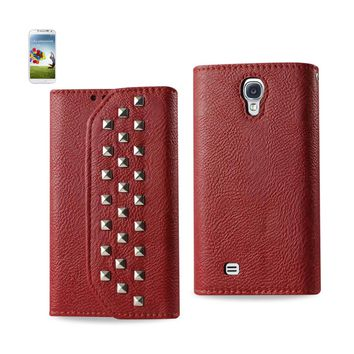 New Studs Wallet Case In Dark Red For Samsung Galaxy S4 By Reiko