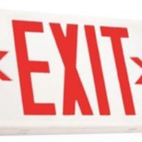LED Exit Sign with Battery Backup, Red Letters