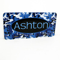 Personalized camouflage License Plate - Kids Custom Sign - Children Name Sign, Kids Room Decor, Kids Birthday Gift