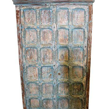 Mogul Interior Antique Indian Cabinet Distressed Blue Old Doors Armoire Unique Eclectic