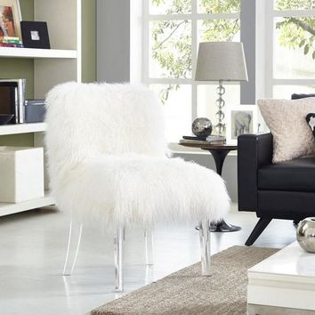 Sirici Genuine Sheepskin White Fur Lucite Chair