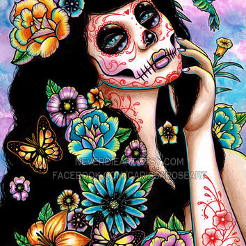 Gardenia Art Print - 5x7, 8x10, or 11x14 - Day of the Dead Sugar Skull Girl Tattoo Flash Flowers Roses and Butterflies
