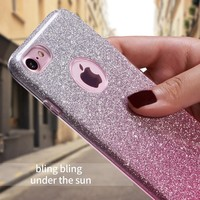 Thin 3 Layer Case for iPhone 7 4.7 Fundas Case Sparkle Bling Glitter Silicone Case for iPhone 7 Plus 6 6 S Plus 5 5S SE Coque