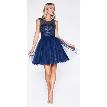 Glitter Embellished Homecoming Short Dress Navy Blue