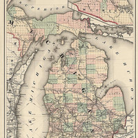 Antique Map of Michigan (1876) by Colton and Co. - Archival Reproduction
