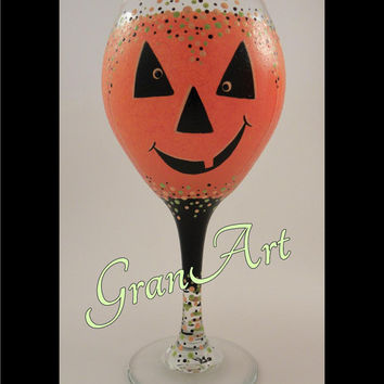 Pumpkin Wine Glass, Pumpkin, Holiday, Autumn, Fall, Orange Pumpkin Glass, Black and Orange, Hand Painted Wine Glass, Party, Festive, Gift
