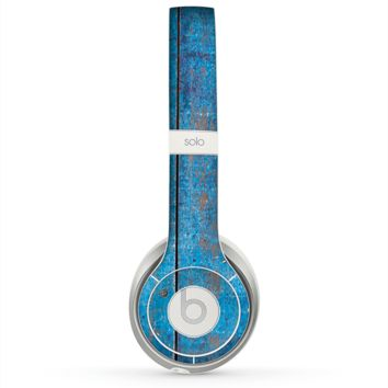 The Worn Blue Paint on Wooden Planks Skin for the Beats by Dre Solo 2 Headphones