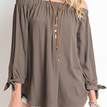 Contemporary Long Sleeve Off Shoulder Top