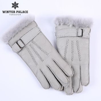 fashion Multi Color Heavy Type child Real Leather Wool Fur Gloves Lovely Girls Sheepskin Leather Fur Gloves Very Warming