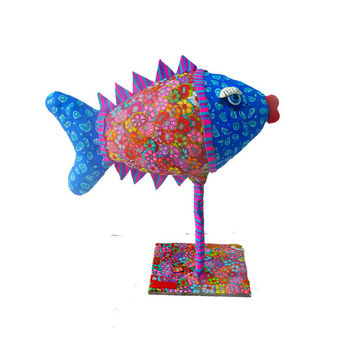 Art Animal sculpture - Fish sculpture-metal sculpture- polymer clay - blue