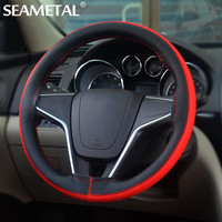 38cm DIY Car Steering Wheel Cover styling Sport Micro Fiber Leather Steering-wheel Cover Needles Thread Car-covers Accessories