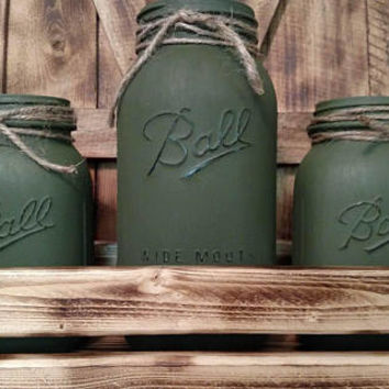 Rustic OD Green Hunting Cabin Mason Jar Centerpiece -  Man-Cave Decor