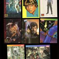 STAR WARS GALAXY Vintage Topps 1993 cards Lot of 7 cards near Mint condition,features Dave Stevens drawing of Luke (card #128) Free Shipping