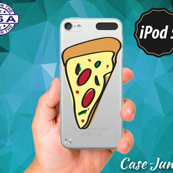 Pepperoni Pizza Slice Cartoon Food Funny Rubber Transparent Crystal Clear Custom Case For iPod Touch 5th Generation Gen