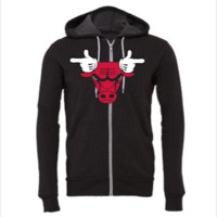 Chicago Bulls Mickey Mouse Hands - Unisex Full-Zip Hooded Sweatshirt
