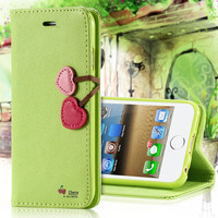 Lovely Leather Phone Case Wallet Holster Cover With Card Slot & Magnetic ButtonFor Apple iPhone 4 4S 5 5S
