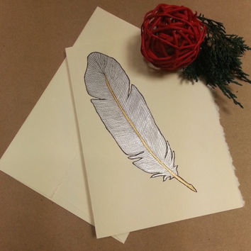 Rustic Christmas Card, Metallic Silver  Feather, Custom Greeting Card, Original Watercolor Art, , Holiday Thank You Card, Bohemian Christmas