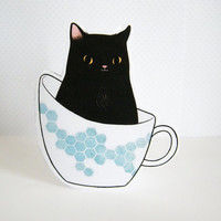 Black Cat in a Teacup Blank Greeting Card