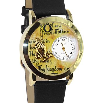 Lord's Prayer Black Leather And Goldtone Watch