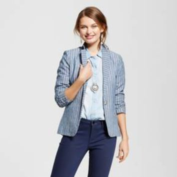Women's Yarn Dye Linen Stripe Blazer - XOXO (Juniors') Blue