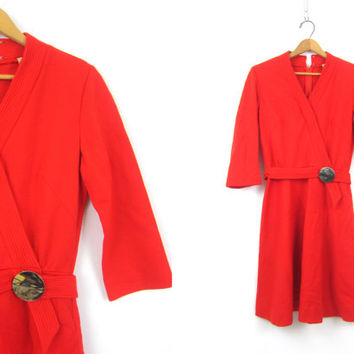 60s Mod WOOL Dress Vintage retro Button Red V Neck Dress 1960s Knit Go Go Dress Womens Medium Large
