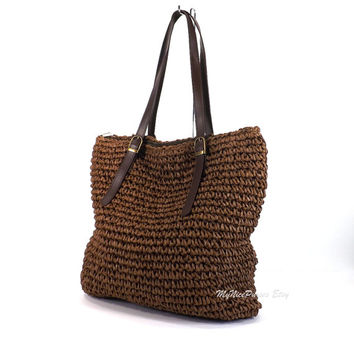 Crochet Straw Tote Bag, Straw Beach Bag, Shopper Bag, Summer Tote, Gift Idea
