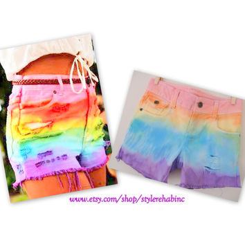 Rainbow Shorts in Size kids 12.  Ombre rainbow jean shorts.  XXS