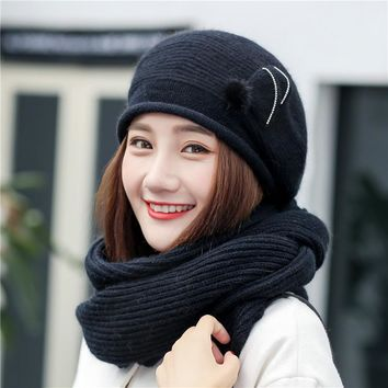 2017 autumn  winter plus cashmere thickening knitted hat scarf female hair ball knitting hoods scarves beanies warm sets caps
