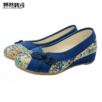 Vintage Embroidered Women Flat Shoes Platform Canvas Walking Soft Shoes Woman Dance Ballerinas Casual Flats Size 34-40