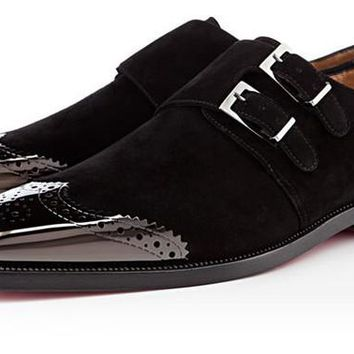 Men Black Double Monk Strap Brogue Wingtip Suede Leather Shoes