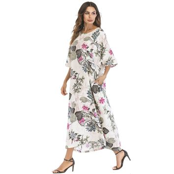 Botanical Print Hidden Pocket Longline Dress