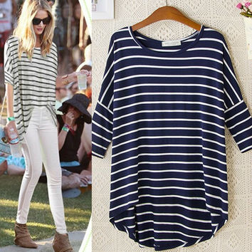 Stripe Asymmetrical 3/4 Sleeve Shirt -Blue/White