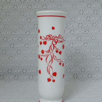Lefton Heart Vase, Vintage Bud Vase, White Porcelain Vase, Red Hearts Ribbon, Valentines Day Vase