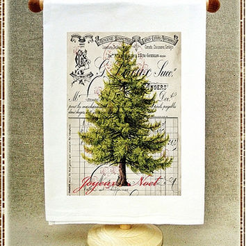 Joyeux Noël Tree Flour Sack Towel by Full Circle Studio of Portland