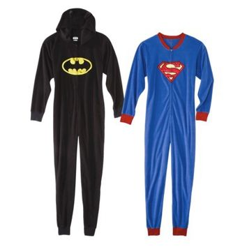 Women's Footie Pajama Collection - Batman and Superman Fleece