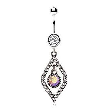 316L Stainless Steel Jeweled Seeing Eye Dangle Navel Ring