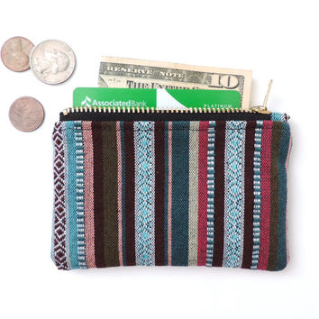Stripe Coin Purse Wallet Zipper Pouch