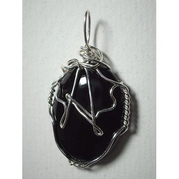 Monogram Letter Wire Wrapped Black Onyx Cabochon Pendant
