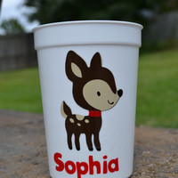 5 Personalized Christmas Reindeer party favor cups