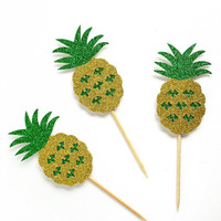 Pineapple Cupcake Toppers - 12 Yellow and Green Glitter Pineapple Toppers - Pineapple Party // Tropical Party Decor // Luau Party Supply