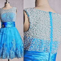 Short Uce Blue See Through Back Prom Dresses,Knee Length Beaded Organza Prom Dresses,Blue Homecoming Dresses,Bridesmaid Dresses