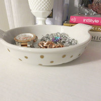 White with Gold Polka Dots Jewelry Makeup Accessory, Office Dish - Hand painted glass dish bowl - glam home, vanity decor