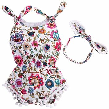 Floral Tassels Baby Rompers Newborn Baby Clothes Girl,2017 Summer Kids Infant Newborn Clothing Set Bow Headband Ropa Bebe Girl