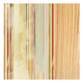 Stripes on Maple, Original Art Print, Abstract, Distressed, Multicolored, 12x12