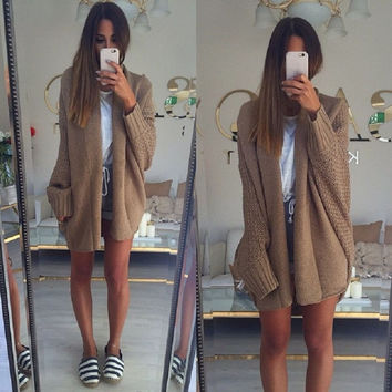♡ batwing knitted long cardigan sweater oversize knitwear ♡